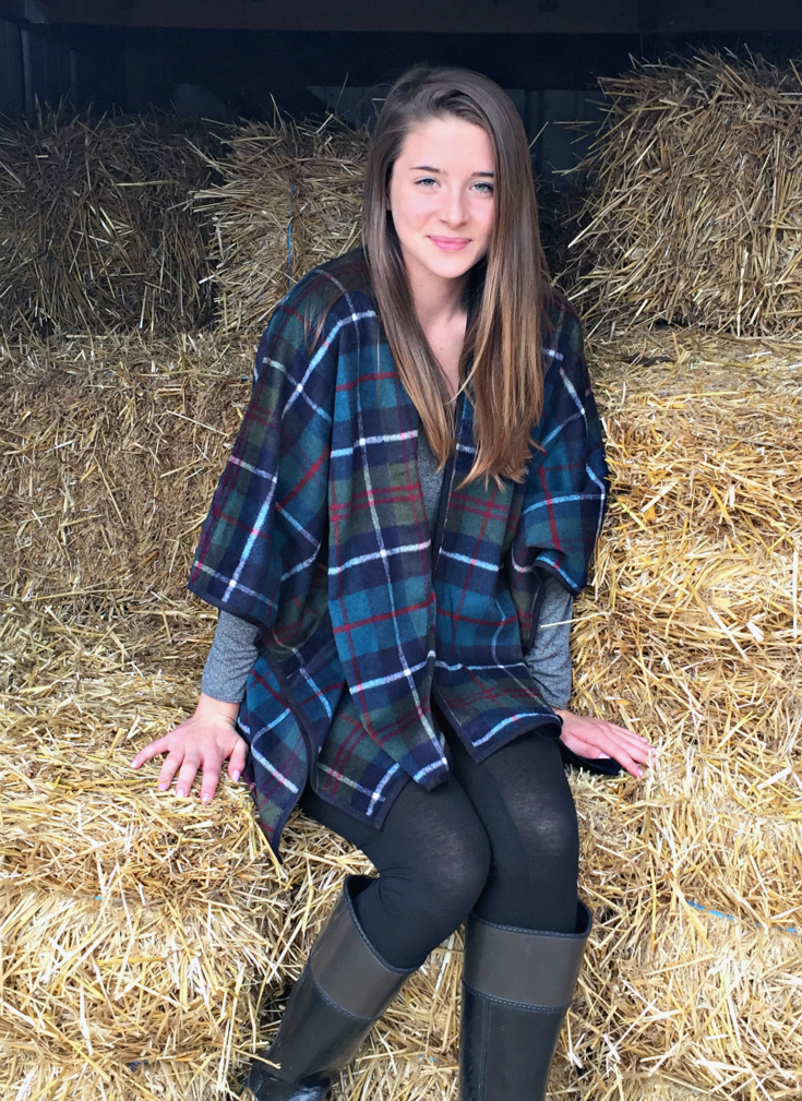 plaid open-front poncho